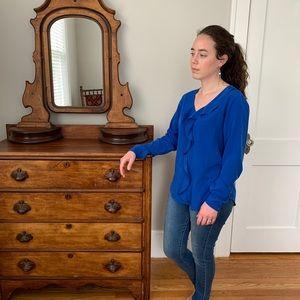 Ann Taylor Royal Blue Ruffled Top, Size S